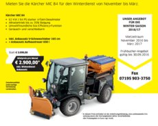 Mieten  Kommunaltechnik: Kärcher - Kärcher MIC 84 inkl. Winterausstattung (mieten)