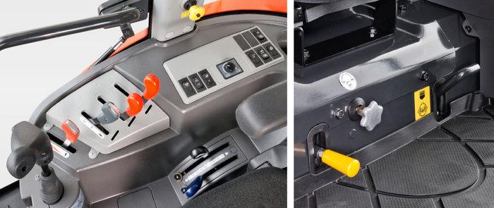 SICHTBAR DURCHDACHTE BEDIENUNG  Joysticksteuerung, Zapfwellenmanagement und alle wichtigen Bedienelemente sind griffgünstig angeordnet. Der Hebelmechanismus ist äußerst leichtgängig und präzise. Der Tempomat wird elektrisch gesteuert. Die Geschwindigkeit und auch die Dynamik des Hydrostaten kann dem Arbeitseinsatz individuell angepasst werden. Der Hebel für die Differenzialsperre hinten liegt unmittelbar vor dem Fahrersitz und kann mit dem Fuß leicht betätigt werden.