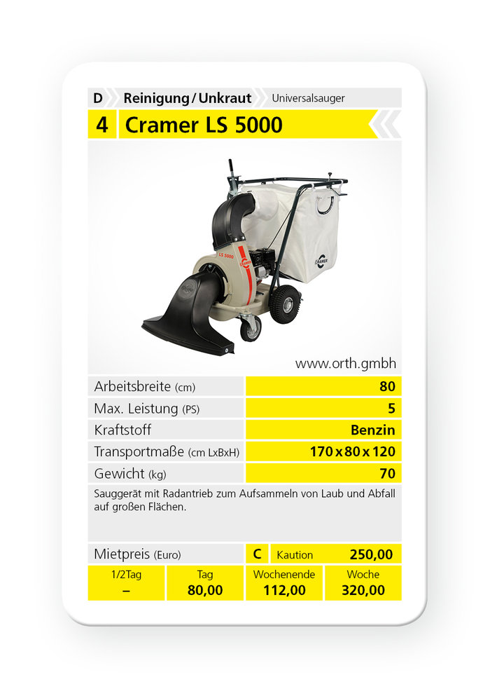 Mieten                                          Laubsauger:                     Cramer - LS 5000 (mieten)