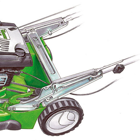 Stahlblech-Gehäuse  Robust: Die besonders steife Rahmenkonstruktion aus Stahlblech bleibt auch bei härteren Einsätzen in Bestform. Sie besteht aus drei robusten Metall-Prägeteilen. Die am Holm aufgebrachten Bedienkräfte werden sehr direkt ins Gehäuse eingelenkt - der Mäher reagiert schnell und läßt sich daher sehr leicht manövrieren.