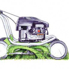 Mulchmesser  Mit dem speziell geformten Mulchmesser wird das Gras stufenweise geschnitten und im Gehäuse in feine Partikel zerkleinert, die in der Grasnarbe verschwinden. Dadurch werden dem Rasen wieder Nährstoffe und Feuchtigkeit zurückgegeben.