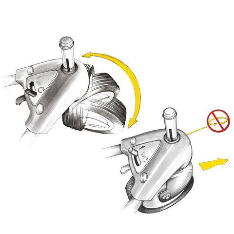 Verstellbares Vorderrad  Fest oder flexibel: Das frei bewegliche Vorderrad der 3-Rad-Multimäher™ erlaubt wendige Fahrmanöver. Für Mähen an leichten Hanglagen und exaktes Kantenmähen ist es jedoch auch fixierbar.