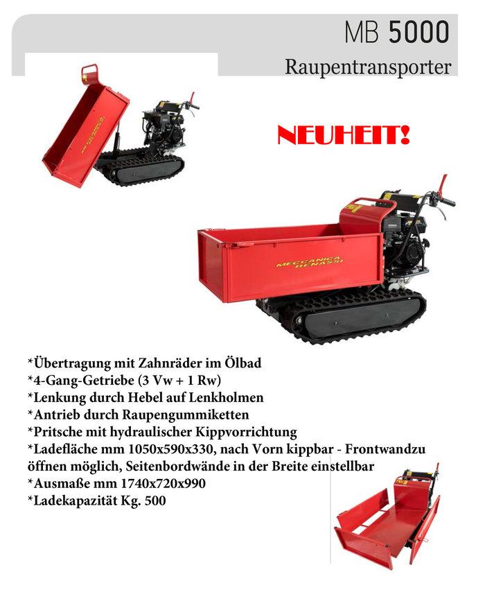 Gebrauchte                                          Allzwecktransporter:                     Meccanica Benassi - MB 5000 6 PS 500kg Raupentransporter - hydraulisch kippbar - MESSE NEUGERÄT STARK REDUZIERT (gebraucht)