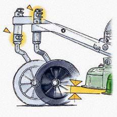 Frontrad verstellbar: Das schwenkbare Frontrad ist höhenverstellbar und für Schrägfahrten etwa auf Freilandwiesen fixierbar.