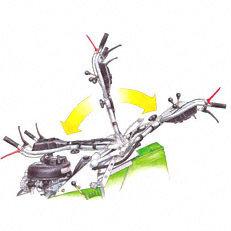 Klappbarer Holm: Zur leichteren, mühelosen Entnahme des Grasfangkorbes beim Entleeren kann der Holm aufgeklappt und in eine aufrechte Position gebracht werden. Beim Zurückstellen wird der Lenker automatisch arretiert.