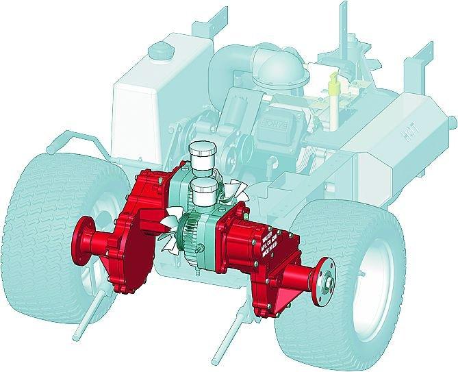 Dual-Hydro Zero-Turn  Walker entwickelte das Hydro-Achsensystem. Der Antrieb erfolgt dabei direkt auf die Räder. Die hydrostatische Transmission ist direkt am Getriebegehäuse verschraubt. Dadurch bildet der Antrieb  eine in sich geschlossene, wartungsfreie Einheit. Eine Differentialsperre entfällt. Dank Walkers Kombination von Lenk- und Geschwindigkeitshebel genügt ein leichter Fingerdruck, um die Maschine durch alle Bewegungsabläufe zu bringen.
