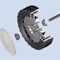 Leichtlaufräder: Die Räder mit doppelter Kugellagerung sind ausgesprochen robust und langlebig. Die Antriebsräder der Linea S sind mit einem Traktions- und Richtungsstabilitätsprofil ausgestattet.