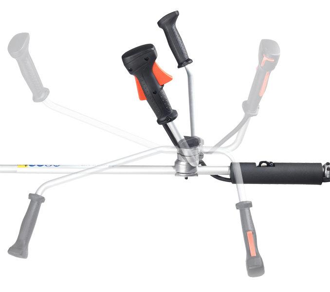 Werkzeugloser Schnellverschluss ermöglicht Transportstellung und individuelle Winkeleinstellung.