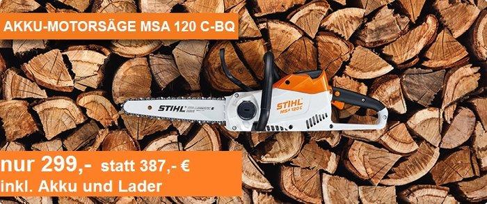Angebote                                          Akkumotorsägen:                     Stihl - MSA 120 C-BQ SET (Aktionsangebot!)
