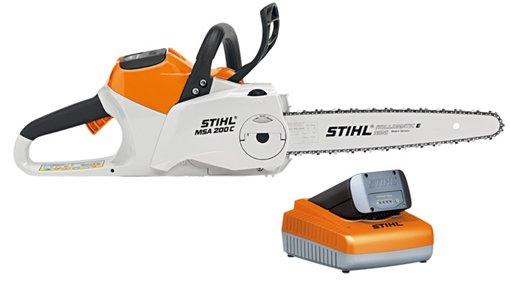 Akkumotorsägen:                     Stihl - MSA 200 C-BQ 35 cm, mit AP 180 und Ladegerät AL 300