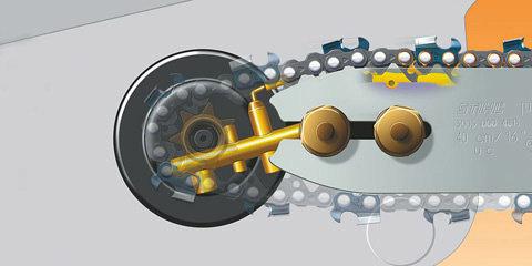 STIHL Ematic-System  Das STIHL Ematic-System besteht aus Ematic-Führungsschiene, Oilomatic-Sägekette und mengenregulierbarer oder fördermengenreduzierter Ölpumpe. Die spezielle Konstruktion von Schiene und Kette bewirkt, dass jeder Tropfen Kettenöl dorthin gelangt, wo er zur Schmierung gebraucht wird. Der Ölverbrauch kann so um bis zu 50% reduziert werden. (Abb. ähnlich)