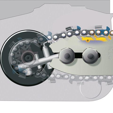 Ematic-System  Das STIHL Ematic System besteht aus STIHL Ematic oder Ematic S Führungsschiene, STIHL Oilomatic Sägekette und mengenregulierbarer oder förderreduzierter Ölpumpe. Die spezielle Konstruktion von Schiene und Kette bewirkt, dass jeder Tropfen Kettenöl dorthin gelangt, wo er zur Schmierung gebraucht wird. Der Ölverbrauch kann so um bis zu 50% reduziert werden.