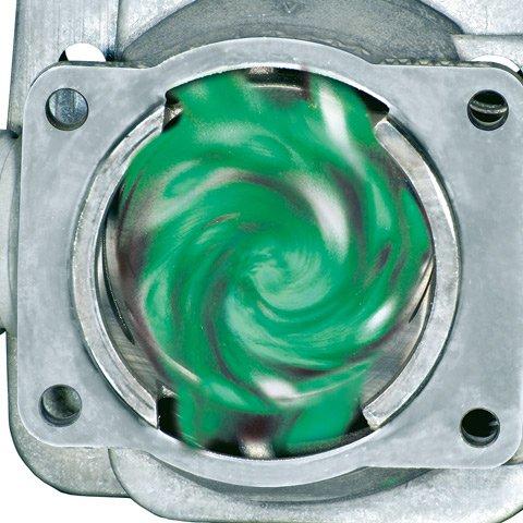 Vier Überströmkanäle verwirbeln das Kraftstoff-Luft-Gemisch vor der Zündung. So wird der Kraftstoff optimal verbrannt und der Wirkungsgrad des Motors deutlich erhöht. Das Ergebnis: weniger Verbrauch und ein hohes Drehmoment über einen weiten Drehzahlbereich. (Abb. ähnlich)