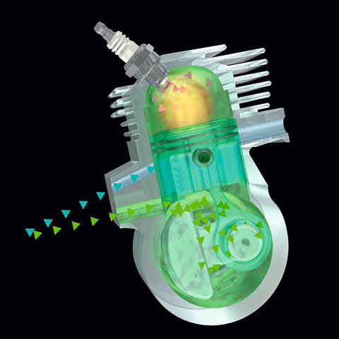 STIHL 2-MIX-Motor  Der Zweitaktmotor mit STIHL 2-MIX-Technik spart bis zu 20 % Kraftstoff und reduziert Abgase um bis zu 70 % im Vergleich zu leistungsgleichen STIHL Zweitaktmotoren ohne 2-MIX-Technik.