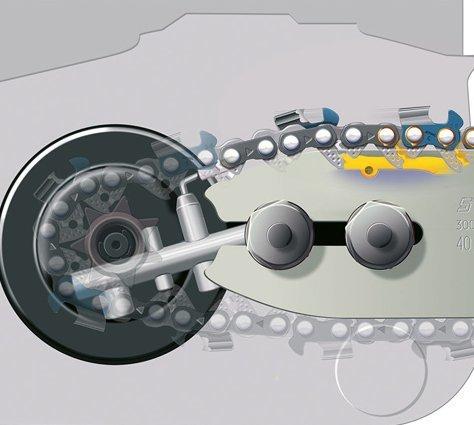 Seitliche Kettenspannung  Die Spannschraube wird seitlich durch den Kettenraddeckel hindurch betätigt. Das verhindert den Kontakt der Hand mit der scharfen Sägekette und den Spitzen des Krallenanschlages. (Abb. ähnlich)