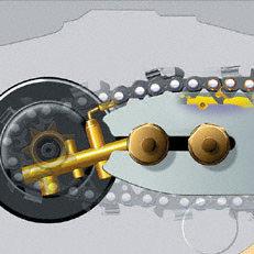Ematic-Kettenschmiersystem: Das STIHL Ematic-System besteht aus Ematic-Führungsschiene, Oilomatic-Sägekette und mengenregulierbarer oder fördermengenreduzierter Ölpumpe. Die spezielle Konstruktion von Schiene und Kette bewirkt, dass jeder Tropfen Kettenöl dorthin gelangt, wo er zur Schmierung gebraucht wird. Der Ölverbrauch kann so um bis zu 50% reduziert werden.