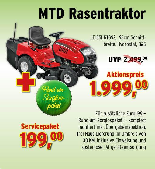 Rasentraktoren:                     Der Gartenprofi - MTD LE 155 H