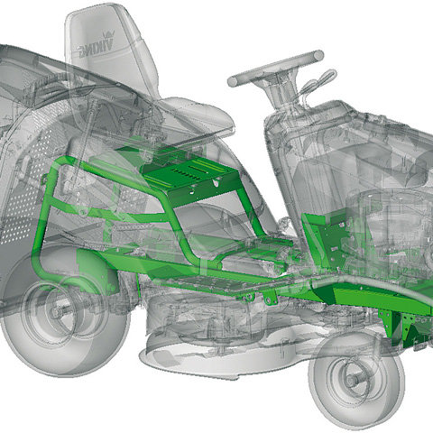 Robuste Rahmenkonstruktion  Die robuste Rahmenkonstruktion mit Rundum-Stoßstange gibt Stabilität auch für Anbaugeräte wie das Winter-Kit. Die Stoßstange ist bereits serienmäßig bei allen Modellen außer MT 4097 SX.