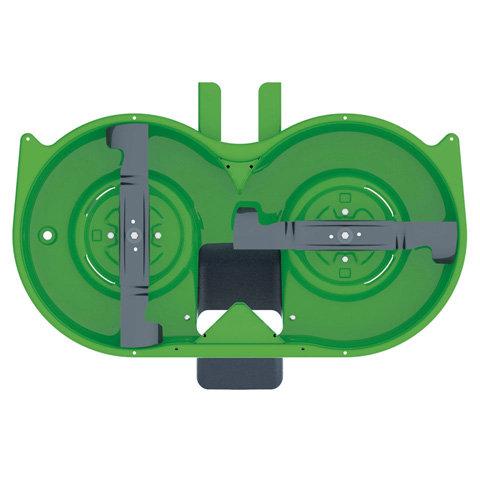 Synchronmähwerk  Durch die synchronisierte Drehbewegung der um 90° versetzten Messer wird die Graszufuhr zum Auswurfschacht optimiert.