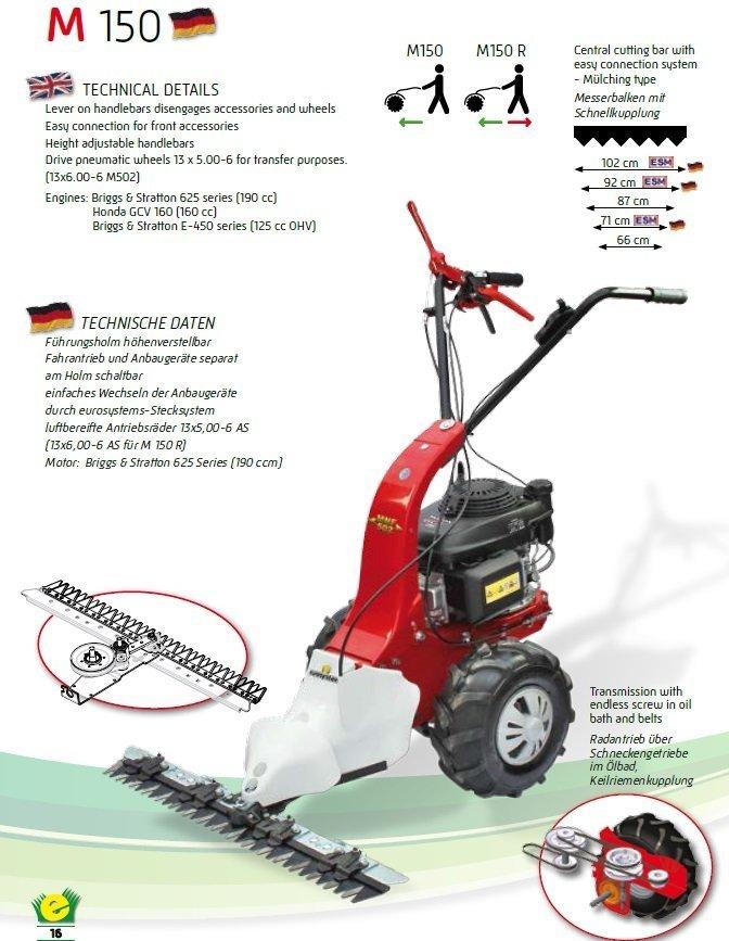 Der Eurosystems Vielzweck-Einachser M 150 RG mit Elektrostart verfügt zudem über ein umfassendes Anbaugeräte-Portfolie für die Grünflächenpflege im Sommer