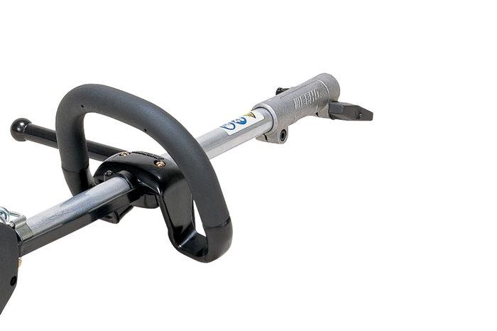 Teilbarer Schaft -  Durch den Schnellschraubverschluss lässt sich das jeweilge Werkzeug in sekundenschnelle Abnehmen und ei anderes Werkzeug anbauen.
