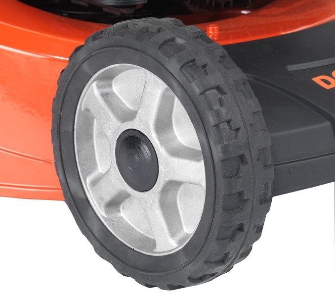 Aluminiumräder mit langlebigem Leichtlaufprofil aus Softtouch-Kunststoff.