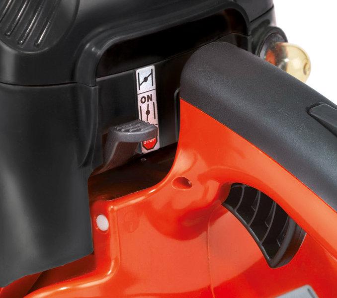 Touch&Stop Einhebelbedienung mit klaren Stellungen, Motor geht durch leichtes Antippen des Hebels aus