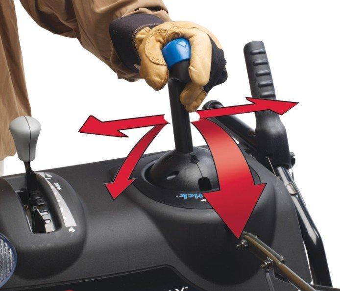 Quick Stick® Auswurfkanalsteuerung Mit einem einfachen integrierten Bedienelement ändern Sie die Auswurfrichtung und die Wurweite.