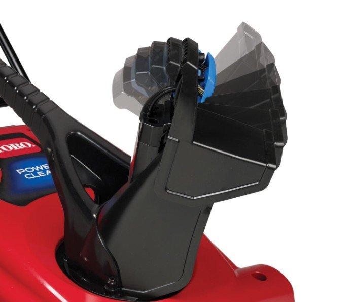 Einrast-Ablenkblech: Hoher, niedriger oder dazwischen liegender Schneeauswurf Das Ablenkblech kann schnell mit einer Handbewegung in jedem Winkel arretiert werden.