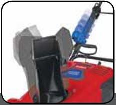 Quick Shoot™ Steueranlage  Durch Drücken des Arretiertaste und durch Schieben des am Bügel befestigten Griffs ändern Sie schnell und einfach die Auswurfrichtung.
