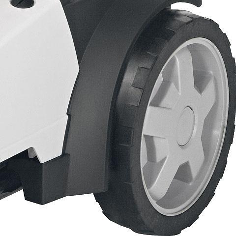 Große Räder im Speichendesign  Breite Räder mit 300mm Durchmesser und eine neue besonders weiche Gummibereifung sorgen für eine verbesserte Mobilität und Laufruhe. Dies ist auf rauhen Böden oder im unebenen Gelände sehr vorteilhaft.