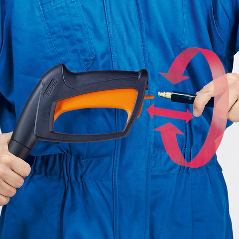 Anti-Drill- und Schnellkupplung  Die Anti-Drill- und Schnellkupplung verhindert ein Verwickeln des Hochdruckschlauchs, wodurch dieser in seiner vollen Länge nutzbar ist. (Abb. ähnlich)