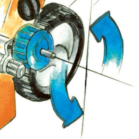 Radantrieb  Der Radantrieb erleichtert das Rasenmähen vor allem bei größeren Flächen und Steigungen. Einige STIHL Akku-Rasenmäher sind mit einem Radantrieb ausgestattet.