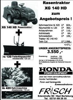 Rasentraktoren:                     Honda - Rasentraktor XG 140 HD