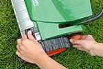 Beim RazorCut lässt sich die Schnitthöhe stufenlos zwischen 14 und 45 Millimeter verstellen. Die Schnitthöhe kann beidseitig auf einer Kontrollskala abgelesen werden.