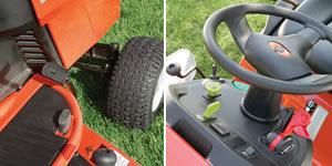 Durch die Serienmäßige Fuß- und Geschwindigkeitsregulierung können sie Ihre Geschwindigkeit schnell ändern. Die elektrische Zapfwellenkupplung schaltet das Mähwerk durch Drücken eines Schalters ein.