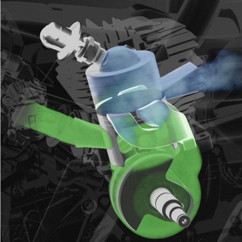 STIHL 2-MIX-Motor  Der STIHL Zweitaktmotor mit 2-MIX-Technik sorgt für starke Leistung, jede Menge Durchzugskraft und spart dabei bis zu 20 % Kraftstoff im Vergleich zu leistungsgleichen STIHL Zweitaktmotoren ohne 2-MIX-Technik. (Abb. ähnlich)
