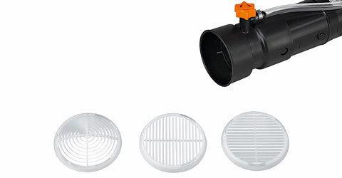 Gitter  Mit den drei montierbaren Gittern kann der Sprühstrahl in Form und Austrittsrichtung verändert werden. Serienmäßig sind Kegelgitter, Ablenkgitter und Doppelablenkgitter.