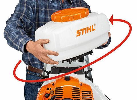 2in1-Umbaumechanik  Das Universalgerät SR 450 lässt sich einfach mit wenigen Handgriffen vom Sprühbetrieb zur Stäubeanwendung umbauen. Ohne separaten Umbausatz und ohne besondere technische Fertigkeiten.