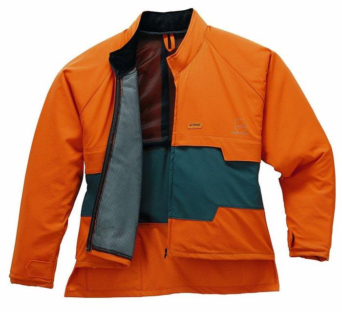 Jacken:                     Stihl - STIHL ADVANCE Schnittschutzjacke, Grün/orange - Schutzniveau = (= 16 m/s ) Hoher Tragekomfort - mehr Schutz im Schulter- und Arm-Bereich