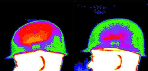 Helmbelüftung  Die Thermografie zeigt die Vorteile eines Helmes mit serienmäßiger Belüftung (rechts). Die Temperatur sinkt um zwei bis drei Grad und die Luftfeuchtigkeit nimmt um 50 Prozent ab.