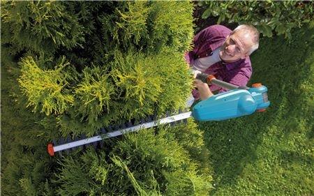 Beste ergonomische Arbeitshaltung  Der abwinkelbare Schneidkopf ermöglich ein komfortables Schneiden des Heckendachs. Zudem können Sie Bodendecker bequem ohne Bücken schneiden.