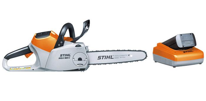 Akkumotorsägen:                     Stihl - Set MSA 160 C-BQ mit Führungsschiene und Sägekette, AP 115 und AL 100