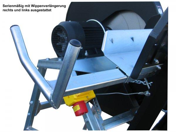 Zwei stufenlos einstellbare Wippverlängerungen mit Doppelfunktion (Fahrwerksgriff und Holzmaßlänge)