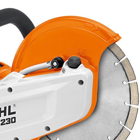 Magnesiumschutz  Der Trennschleifscheibenschutz aus Magnesium-Druckguss ist leicht und robust.