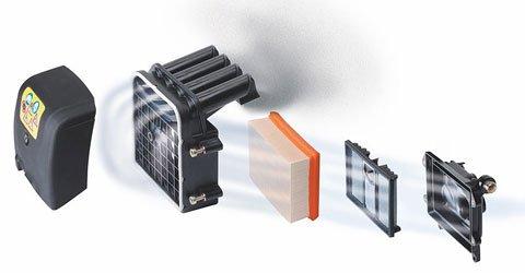 Langzeit-Luftfiltersystem (Zyklon)  Das Langzeit-Luftfiltersystem mit Zyklon-Vorabscheidung sorgt dafür, dass bereits in der ersten Stufe 80% der in der angesaugtem Luft enthaltenen Staubpartikel abgeschieden werden. Sie werden im Gegensatz zu herkömmlichen Systemen nicht im Schaumfilter gesammelt, sondern separiert und wieder der Umgebungsluft zugeführt. Die Reinigungsintervalle für den Schaumfilter entfallen somit. Je nach Einsatzbedingungen beträgt die Filterstandzeit bis zu einem Jahr. (Abb. ähnlich)