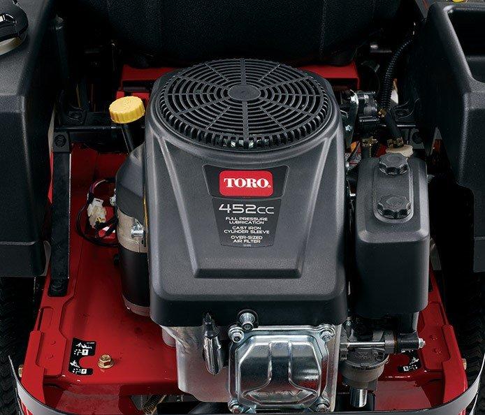 Toro-Motor, 452 cc  Der Toro 452-cc-Motor bietet zuverlässige Leistung, Volldruckschmierung und einen Ölanschraubfilter.