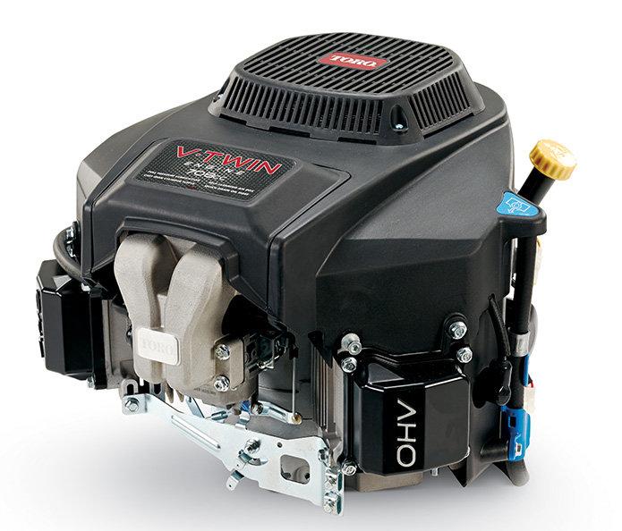 Toro V-Twin-Motor der Serie ZX  Der Toro Motor der Serie ZX verfügt über einen Vergaser mit zwei Zylindern, einen Schnellablass-Ölschlauch, eine Vakuum-Überdruck-Starterklappe und ein selbstreinigendes Luftfiltersystem. Maximale Leistung, intelligent gestaltete Wartung.