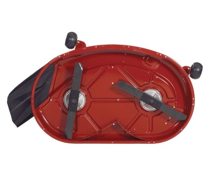 Mähwerk (107 cm)  Das 10,2 cm tiefe Mähwerk von Toro mit Auswurf oben gibt eine tolle Schnittleistung in allen Bedingungen. Mit Antiskalpierrädern schwebt das Mähwerk über die Rasenfläche und erzeugt keine Abschürfungen. Schaffen Sie eigenen Naturdünger mit einem Recycling Kit® oder machen Sie die Entsorgung des Schnittguts mit dem optionalen Heckfangsystem zu einem Kinderspiel.