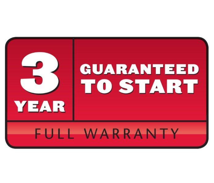 3-jährige Startgarantie: Der Motor startet in den ersten drei Jahren nach dem ersten oder zweiten Ziehen oder Toro repariert ihn kostenfrei. Weitere Einzelheiten erfahren Sie vom Toro Vertragshändler.